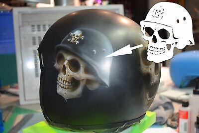 Airbrush Schablone Totenkopf mit Stahlhelm - Skull Helmet Stencil