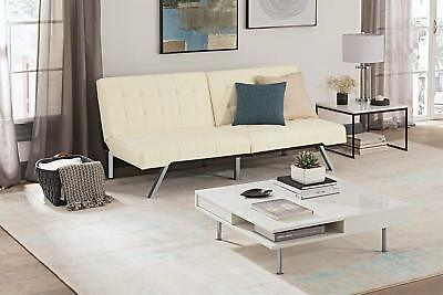 Futon Sofa Bed Cream Vanilla Modern White Hide A Bed Convertible Mattress Couch