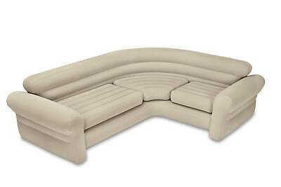 Intex 68575EP Inflatable Corner Living Room Air Mattress Sectional Sofa, Beige