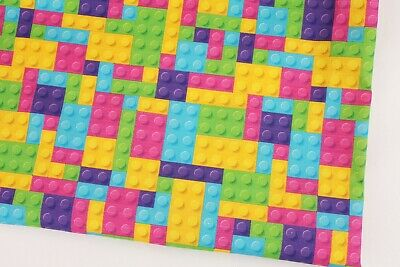 Lego Block Patterned Fabric Pink made in Korea By the Yard