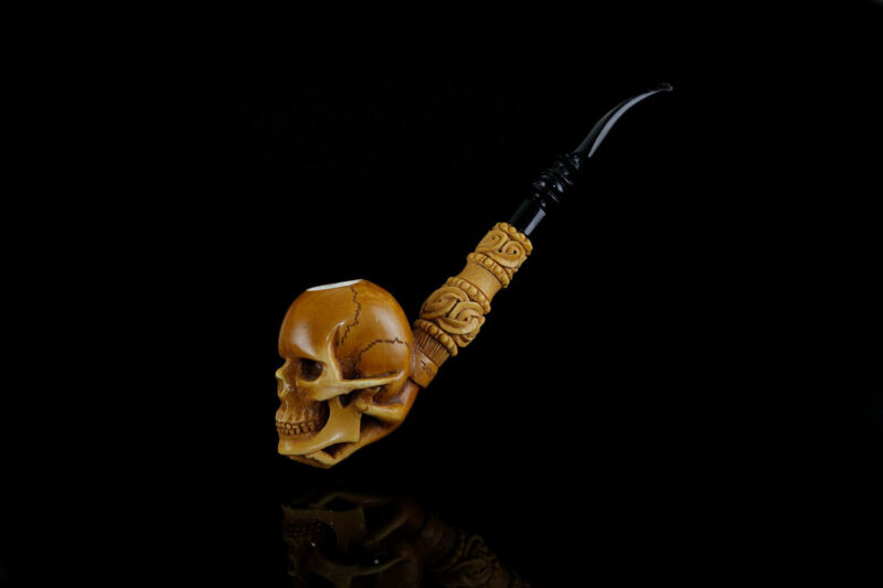 Hand Holds Skull  Pipe By Kenan-new-block Meerschaum Handmade W Case&Tamper#33