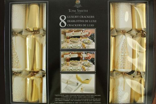 Tom Smith Luxury Holiday Crackers Holiday Favors in Gold and Cream Set of 8