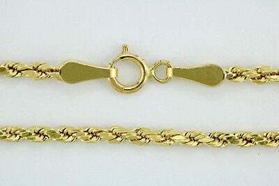"10k Yellow Gold Real Genuine 2mm Diamond Cut Twist Rope Chain Bracelet Women 7"""