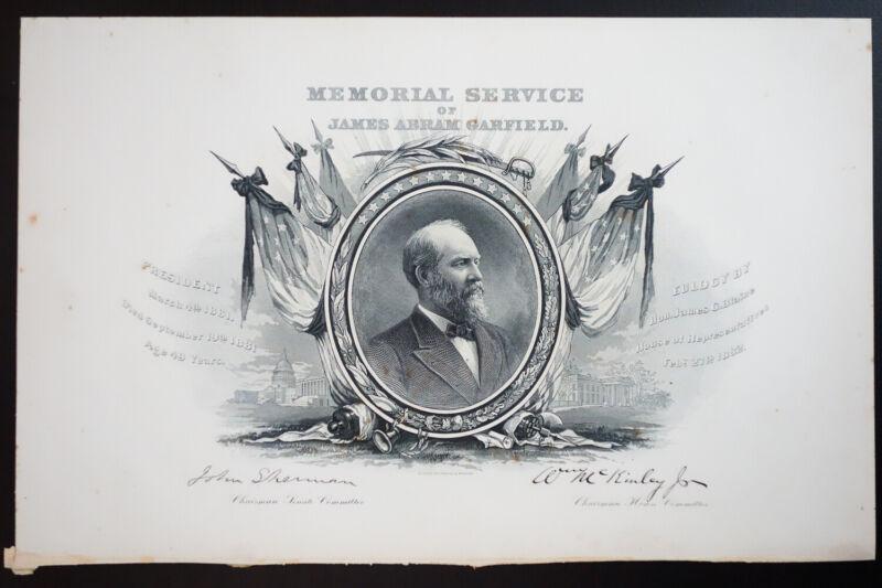 US President James Garfield 1881 Memorial Service Card