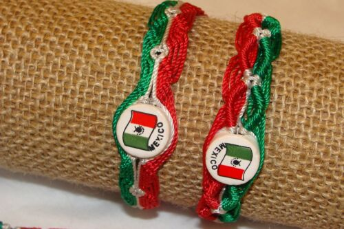 Mexican Colorful Tricolor Lot Flag Clay Bead Friendship Wrist Bracelets 25 Pack