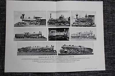 Lokomotiven 19. Jahrhundert Dampflokomotiven DRUCK von 1911 Henschel Maffei