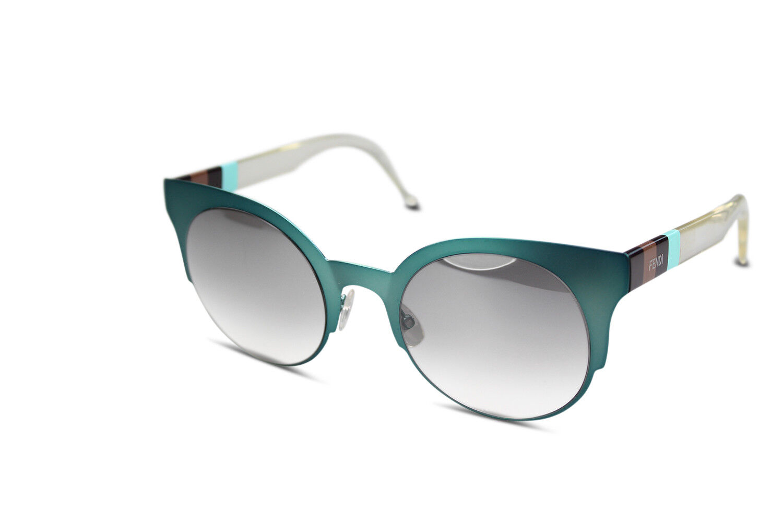 FENDI Sonnenbrille Damen Cateye Runde Metall Sunglasses FF 0080/S E1NIC Aqua
