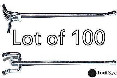 100 4 X 14 Peg Board Hooks Shelf Hanger Kit Garage Storage Hanging Metal