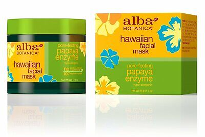 Alba Botanica Hawaiian Facial Mask Pore-Fecting Papaya Enzyme 3 oz 85 g NEW