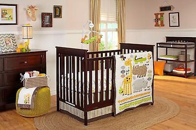 NoJo Zoobilee 4pc Unisex Newborn Baby Crib Set Giraffe Alligator Hippo + Bonus