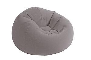 Intex Inflatable Contoured Corduroy Beanless Bag Lounge Chair, Grey | 68579EP