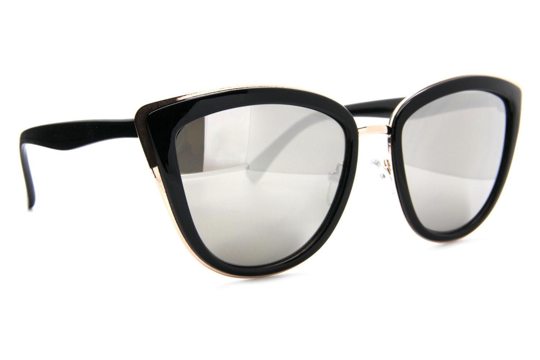 """My Girl"" Cat Eye Women Fashion Sunglasses Gold Metal Rim Mirrored Lens"