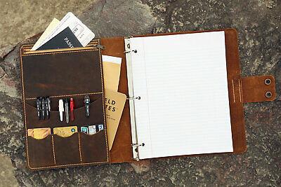 Leather 3 Ring Binder Portfolios Writing Pad 8.5 X 11 Letter Leather Padfolio