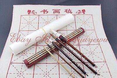 5 Pcs Painting Flower Bird Brush+5PC Xuan Paper+1Pc BAMBOO Roll+1Pc FELT MAT