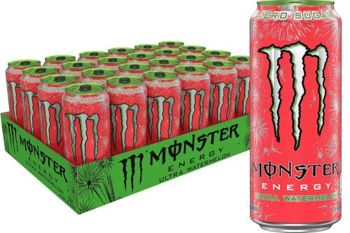 Monster Energy Ultra Watermelon, Sugar Free Energy Drink, 16 Ounce (Pack Of 24)