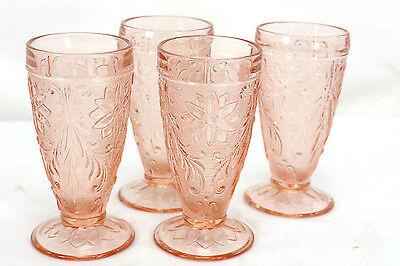 set of 4 TIARA crystal SANDWICH Pink/Peach Iced Tea Goblets Glasses (468)