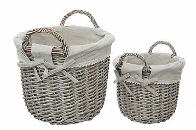 Strong And Sturdy Willow Mesa Storage Baskets With Handles , Set of 2, Natural