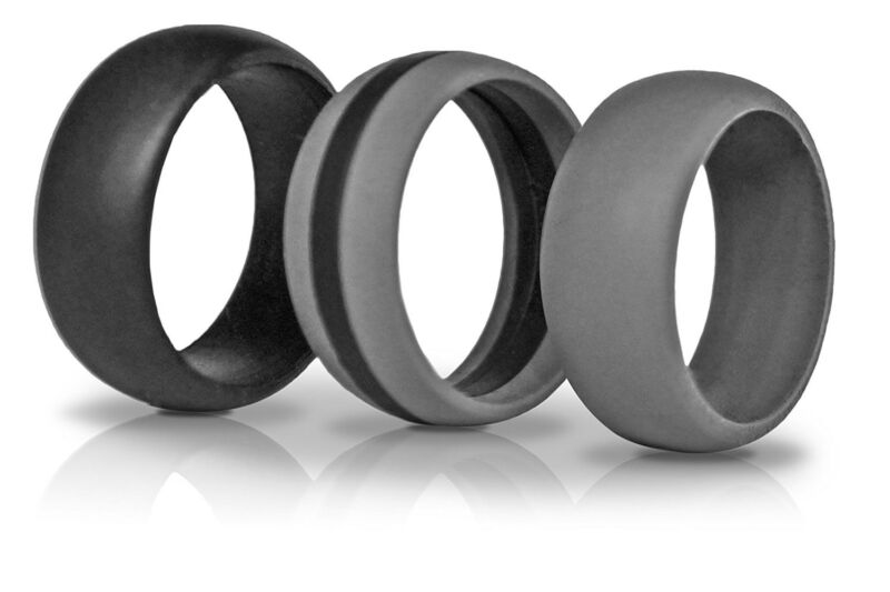 Silicone Wedding Ring Silicone Wedding Band For Men Stripe Ring 3 Pack