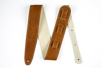 "Genuine Fender 2.5"" Wide Ball Glove Leather Adjustable Guitar Strap - Brown"