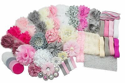 Diy Headband Kit (DIY Headband Kit - Baby Shower Activity Hair Bow Craft  Pink Grey)