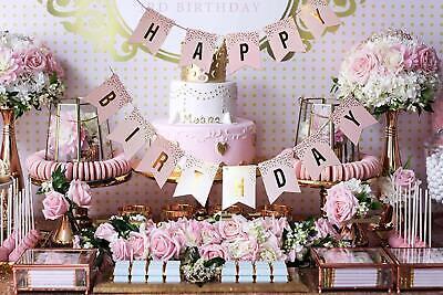 Pink/Gold Happy Birthday Banner Birthday Bunting Garland Girls Party Wall Decor