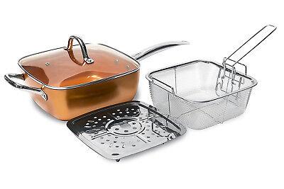 Pentola quadrata Chef 4in1 in rame super resistente square ceramica copper red