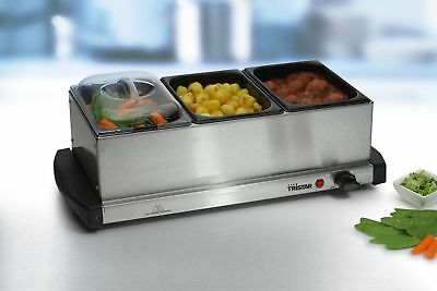 Buffet Food Warmer & Hot Plate Server 3 X 1.5Lt capacity Stainless Steel Tristar