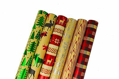 Bundle of 6 Rolls of Christmas Gift Wrapping Paper, Kraft -