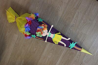 Schultüte Zuckertüte Hulagirl Hula Hawai lila gelb 70 cm Mädchen Handarbeit NEU