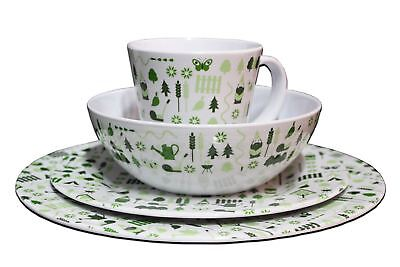 32 Piece Melamine Dinner Set Plates Mugs Picnic Outdoor Camping BBQ Dining for 8 ()
