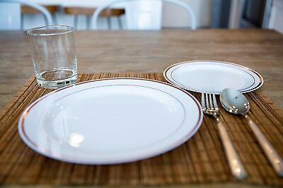Gold Plastic Plates Bulk (Rose Gold Trim Disposable Plastic Plates Bulk Decorative Dinner Plate 40)