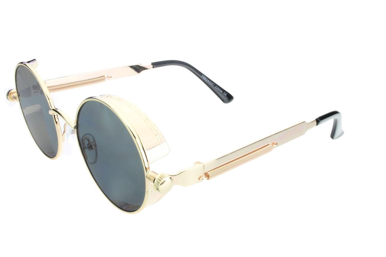 3fc311c62875 Details about Round Steampunk Glasses Sunglasses Men Women Metal Fashion Designer  Gold Gray