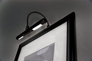 Picture frame light Black Led Picture Frame Light Battery Operated Black Wall Lamp Cordless Lighting Art Ebay Led Picture Frame Light Ebay