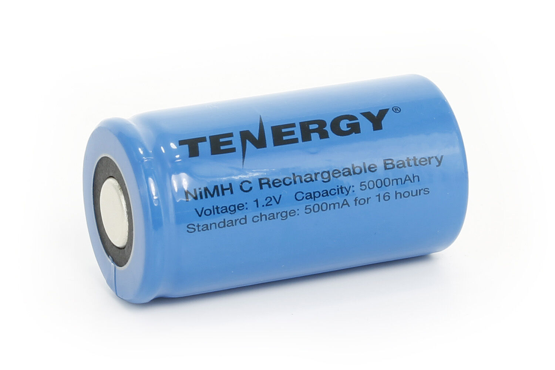 Tenergy C 5000mAh NiMH Flat Top Rechargeable Battery - No Ta