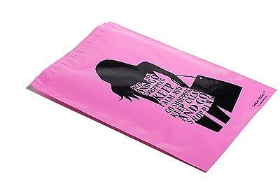 100 10x13 PINK GO SHOPPING Designer Mailers Poly Shipping Envelopes Boutique Bag