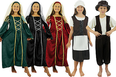 TUDOR COSTUMES GIRLS BOYS RICH PRINCESS POOR MAID CHILD CHILDREN MEDIEVAL SCHOOL