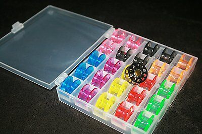 Spulenbox + 25 bunte (CB) Spulen f. Brother, Carina, AEG, W6, Singer, Bernette online kaufen