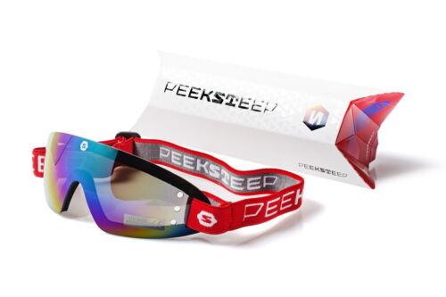 Peeksteep skydiving motorcycle goggles (mirror/red strap)