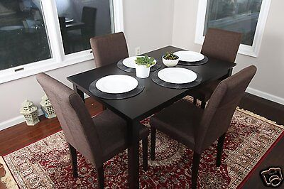 5pc espresso dining room kitchen set table 4 brown fabric parson
