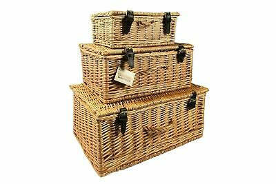 Large Natural Wicker - Medium, Extra Large Natural Wicker Storage Basket Box With Lid, Straps & Handle