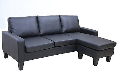 Black Leather Sectional Sofa w REVERSIBLE Chaise ...