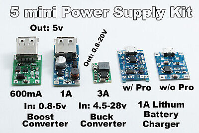 Power Supply Kit 5pc Boost Lithium Protection Buck Converter Step Up Down Usb