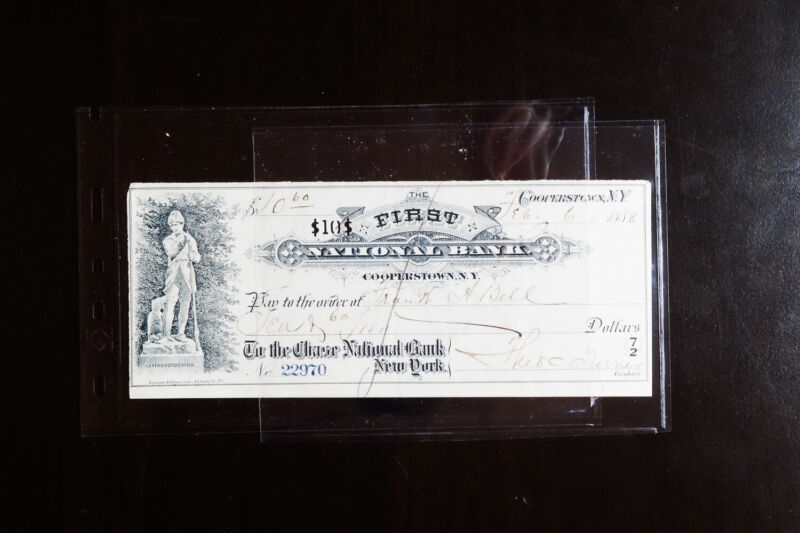 US First National Bank Check From 1888 feat. Baseball Hall of Fame