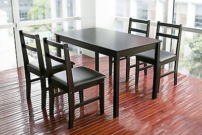 Rectangular Dinning Table Kitchen Compartment Breakfast Furniture in Dark Espresso