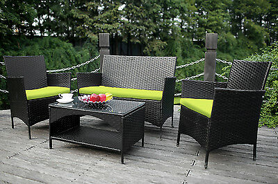 4PCS Outdoor Rattan Wicker Patio Set Garden Lawn Rattan Sofa Furniture Cushioned