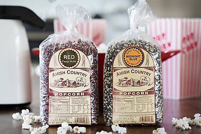 Amish Country Popcorn -Variety 2 (2 Lb) Bags -Red &Midnight Blue Popcorn Kernels
