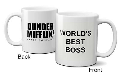 Worlds Best Boss The Office 11oz coffee mug!  FREE SHIPPING - Dishwasher Safe!