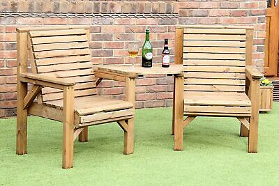 WOODEN GARDEN FURNITURE PATIO TWIN SET 2 CHAIRS + REMOVABLE TRAY JACK + JILL