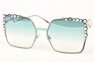 Fendi Can Eye FF0259/S mint green spike stud oversized frame sunglasses NEW $540