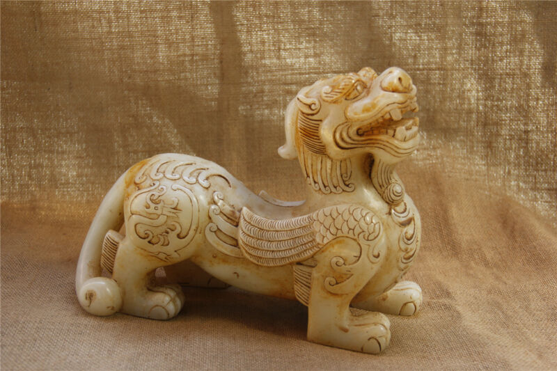 "10"" China handcarved old white jade dragon Phoenix Unicorn Kylin statue"